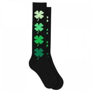 🆕🍀 St. Patrick's Day Clovers Socks Black/Green